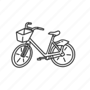 bicycle, bike, bike with basket, cycle, outdoor, ride, vintage bike icon