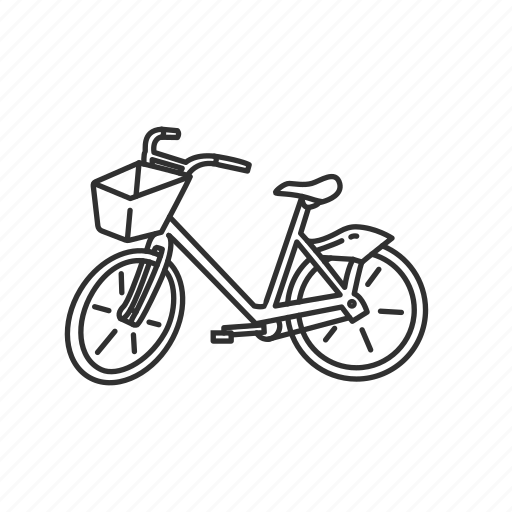 bicycle, bike, bike with basket, cycle, outdoor, ride, vintage bike icon