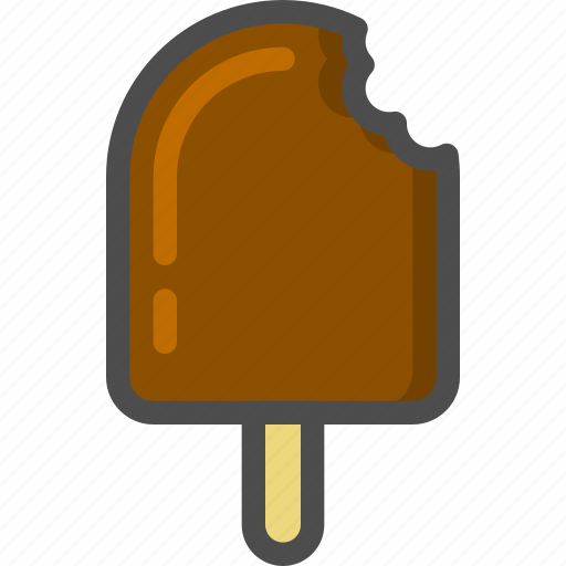 chocolate, cream, ice, stick, summer icon