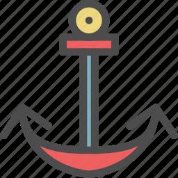 anchor, boat, iron, lock, ship, stop icon