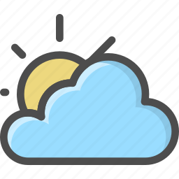 cloud, cloudy, sky, summer, sunshine, weather icon
