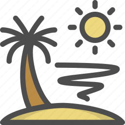 holiday, island, palm, summer, sunshine, travel, tree icon