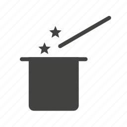 entertainment, hat, magic, performance, show, trick, wand icon