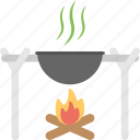 adventurous cooking, camp cooking, food preparation, outdoor cooking, wok on fire icon