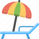 vacation travelling, summer holiday, umbrella and lounger, sunbath, beach tour icon