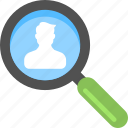 customer hunting, employee search, man under magnifier, talent hunt, tourist search icon