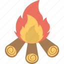 bonfire, campfire, fire, fireplace, flame icon
