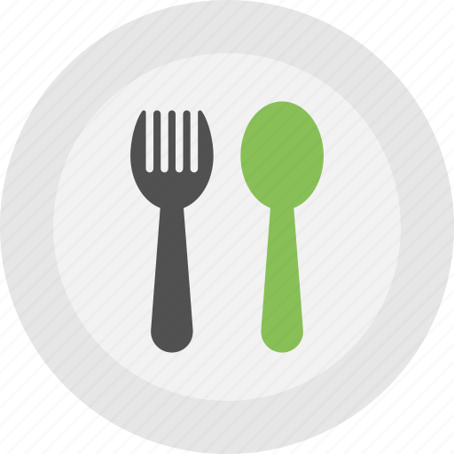 dinner time, hoteling logo, kitchenware, plate with spoons, tableware icon