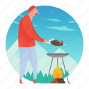 barbecue, bbq, cooking, grill, man icon