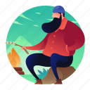 bonfire, campfire, camping, man, people icon