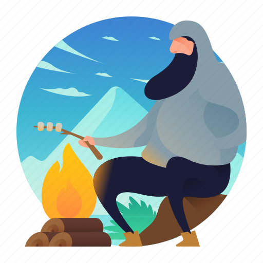 campfire, fire, food, man, people icon
