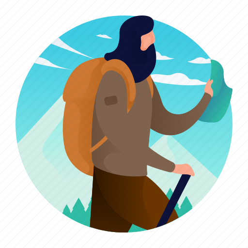 backpack, hiker, man, outdoor, people icon
