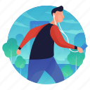 listening, man, music, people, running icon