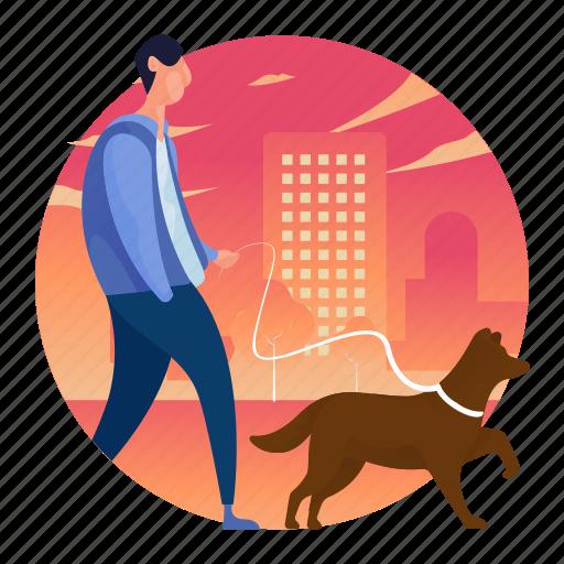 dog, man, outdoors, people, walking icon