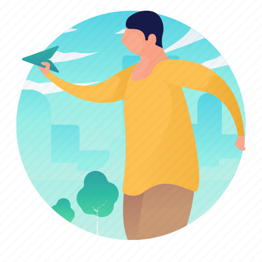 airplane, man, outdoors, paper, people icon