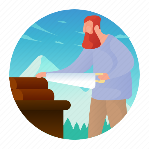 activities, man, people, sawing, wood icon