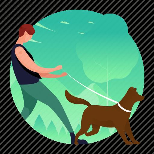 dog, man, outdoors, pet, walking icon