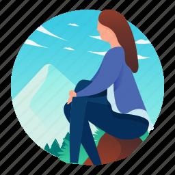 woman, scene, mountain, sitting