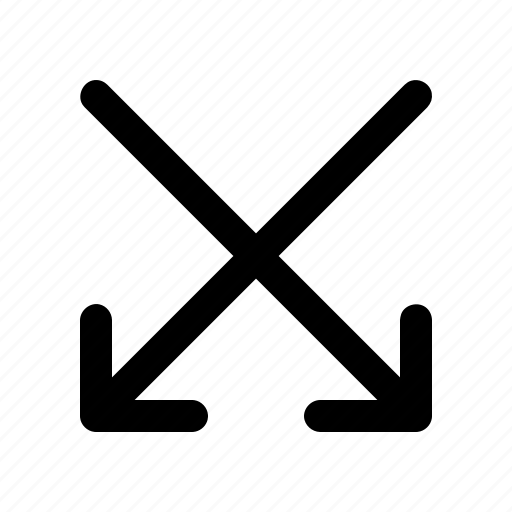 arrow, cross, direction, double, down, navigation icon