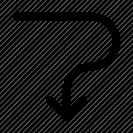arrow, down, navigation, turn icon