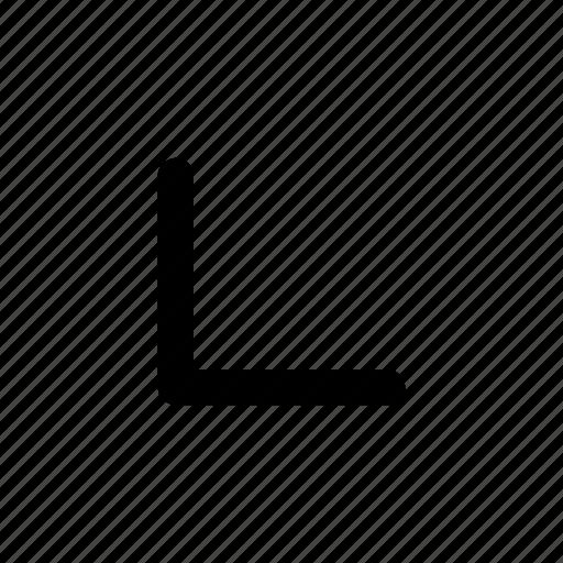 corner, down, left icon
