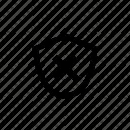 danger, off, shield, unsafe, weak icon