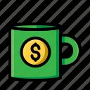 money, coin, desain, coffe, file, glas, muk icon