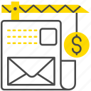 construction, dollar, envelope, file, message, money icon