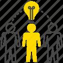 idea, solution, solving, team icon