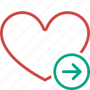 bookmark, favorites, heart, like, love, next icon
