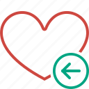 bookmark, favorites, heart, like, love, previous icon