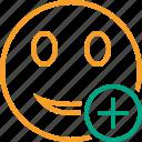 add, emoticon, emotion, face, smile