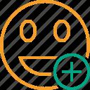 add, emoticon, emotion, face, laugh, smile