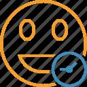 clock, emoticon, emotion, face, laugh, smile