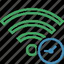 clock, connection, fi, internet, wi, wifi, wireless icon
