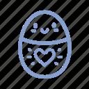 easter, egg, heart, outline icon