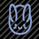 easter, egg, outline, rabbit