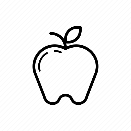 apple, food, fruit, icon, natural, outline icon