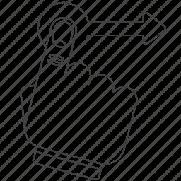 filck, gesture, outline icon