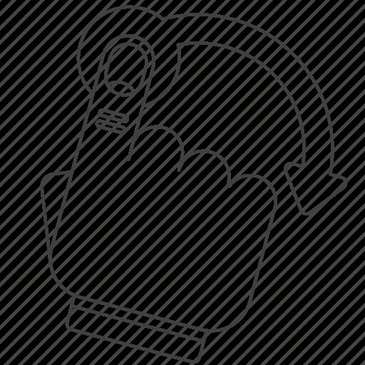 cross, gesture, lasso, outline icon