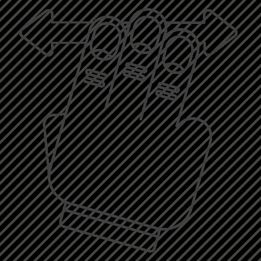 drag, finger, gesture, multi, outline icon