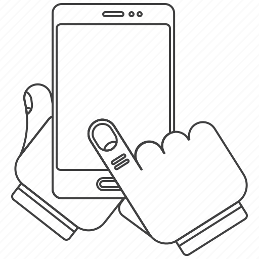gesture, outline, phone icon