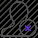 dislike, human, person, profile, remove, user, web icon