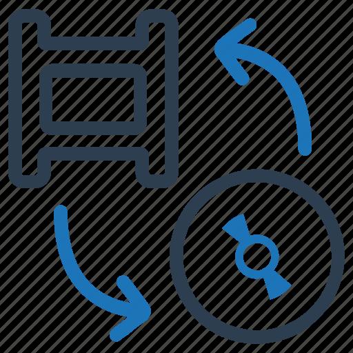 disk, film, media, movie, video conversion icon