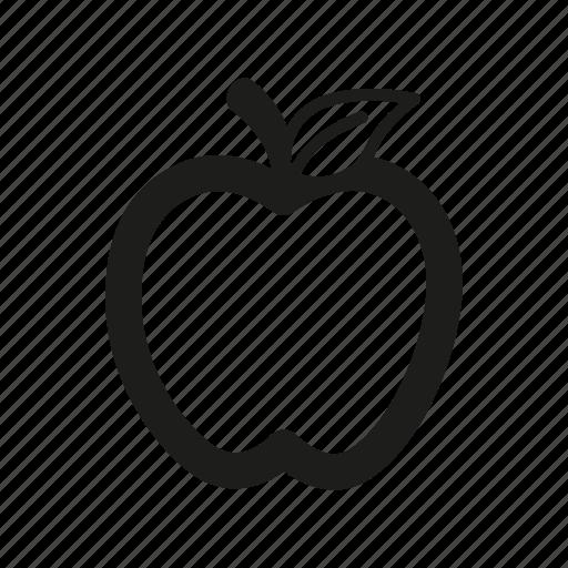apple, diet, education, food, fruit, leaf, line, organic icon