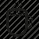 breakfast, cappuccino, coffee, cup, drink, hot, line, mug, tea icon