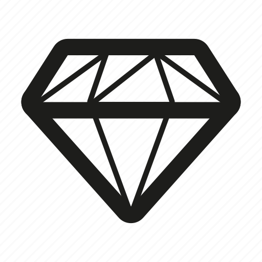 brilliant, diamond, gem, gemstone, line icon