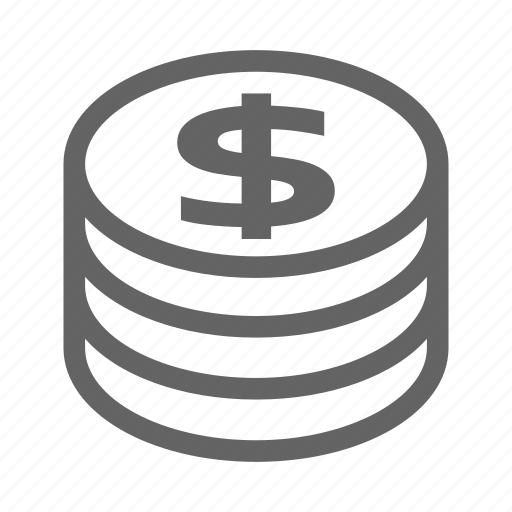 coin, currency, finance, line, money, stock icon