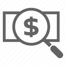 currency, finance, line, money, search, stock icon