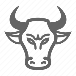bull, currency, finance, line, money, stock icon